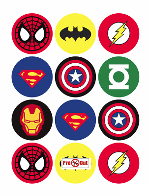 40 Super Hero Cupcake Cake Toppers Decorations Edible Wafer Paper Pre Cut