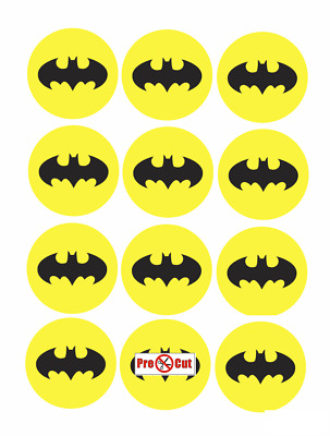 40 Batman Logo Cupcake Cake Toppers Decorations Edible Wafer Paper Pre Cut