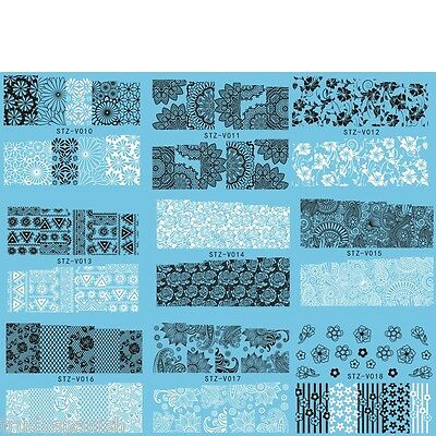 Nail Art Water Transfers Stickers Decals White Black Flowers Lace Gel Polish