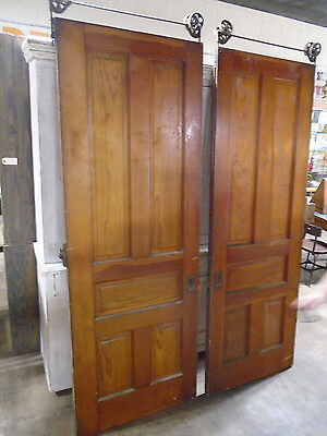 PAIR HEART of PINE POCKET DOORS w/ALL HARDWARE CIRCA 1870 w/TRACKS (5570)
