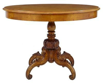 19Th Century Swedish Carved Birch Center Table