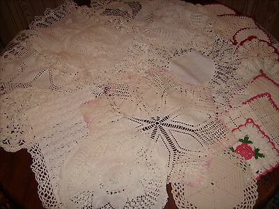 VTG Antique Crocheted Doilies, Table-runners, Pot holders lot of 21