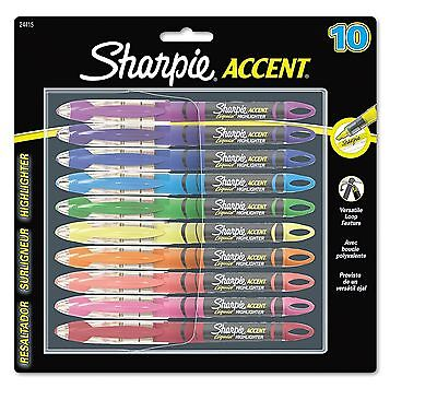 Sharpie Accent Liquid Pen Style Highlighter Micro Chisel Tip Assorted 10 per ...