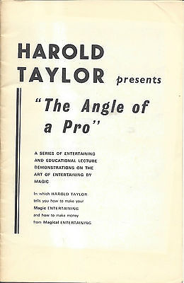 The Angle of a Pro by Harold Taylor - Magic Lecture Notes - Signed