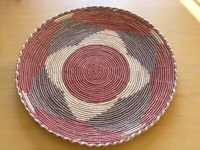 Vintage Polychrome African Tribal Coiled Basket Tray 12 inches Sea Grass 3 color