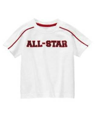 """NWT"" Gymboree Boy's Play Ball White & Red All Star Shirt Top Size: 18-24 Months"