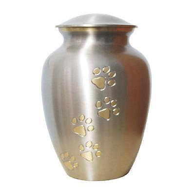 Large Urn for Pet Ashes  (NT-J020 SILVER/ GOLD PAW PRINT)