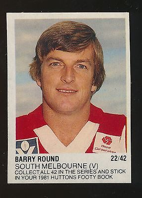 1981 Huttons Sticker Barry Round South Melbourne Swans Rare Number 22 of 42
