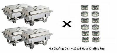 4 x Olympia Milan Chafing Dish + 12 x Olympia Liquid Chafing Fuel 6 Hour Tins