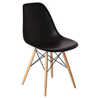 Black Polypropylene Replica Eames Chairs Cafe Restaurant Hotel Bar Pack of 2