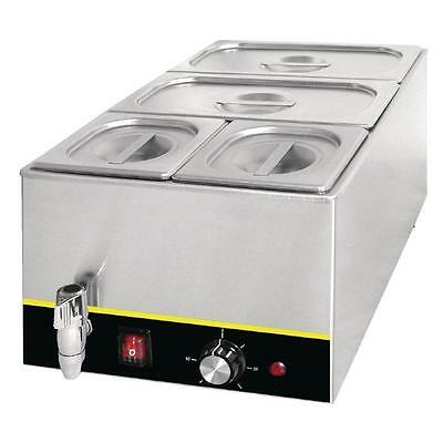 Apuro Benchtop Bain Marie Food Warmer Commercial With GN Pans Lids & Tap