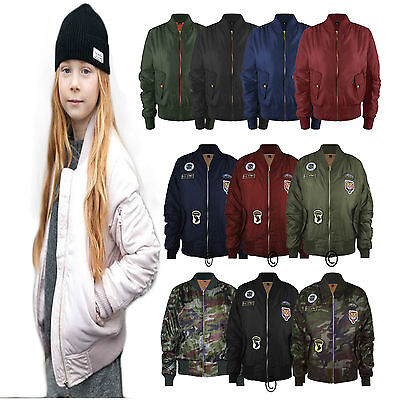 MA1 KIDS GIRLS CHILDREN WINTER JACKET BOMBER PILOT WARM US AIR STYLE PADDED COAT