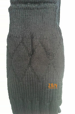 Black Acrylic Wool Blend Morven Plain Kilt Hose Socks Sizes S/m/l