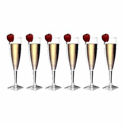 Prodyne Forever Clear Polycarbonate 6 Ounce Champagne Flute, Set of 6