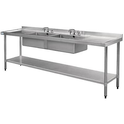 Vogue Stainless Steel Double Bowl Sink Double Drainer Commercial 900x2400x700mm