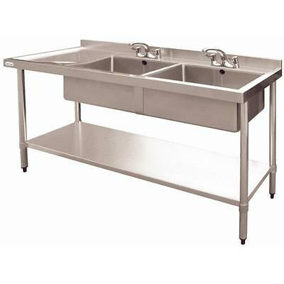 Vogue Stainless Steel Double Bowl Sink Left Hand Drainer Commerc 900x1800x600mm