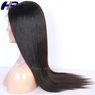 Glueless lace front wigs Malaysian Human hair natural black Silk straight 10-26""