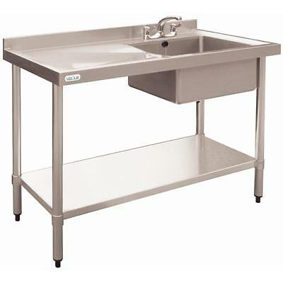 Vogue Stainless Steel Single Bowl Sink Left Hand Drainer Commerc 900x1000x600mm