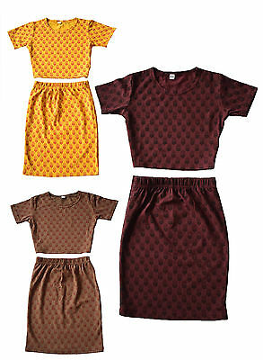 Girls Kids Floral Outfit Crop top T-shirt & Skirt Set Short Sleeved 5 to 13 yrs