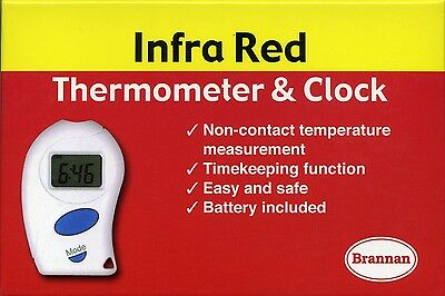 Brannan Non-Contact Infrared Thermometer & Clock with Digital LCD Display