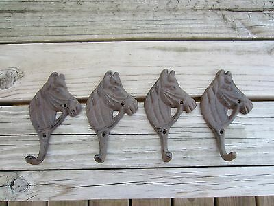 Rustic /Western Horse Coat, Hat, Robe Hook Rustic Brown Set Of 4