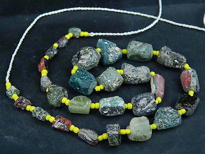 Ancient Fragment Glass Beads Strand Roman 200 BC  #BE1371
