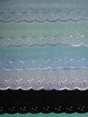 "*The Place For Lace* Quality Cotton Broderie Anglaise Flounce Lace Trim 3""/7.5cm"
