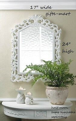 baroque Distressed WHITE shabby vintage carved wood bathroom entry Wall Mirror