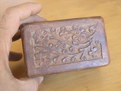 Vintage Detailed Arts & Crafts Hand Carved Wooden Vanity Jewelry Trinket Box