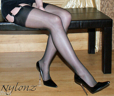 3 pairs NYLONZ Gloss Shine Stockings Black S,M,L,XL   FREE UK SHIPPING