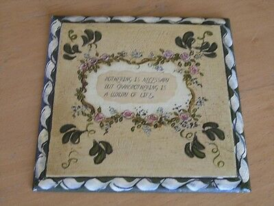 Vintage Folk Art Signed Hand Painted Plaque Roses Motto Mothering Grandmothering