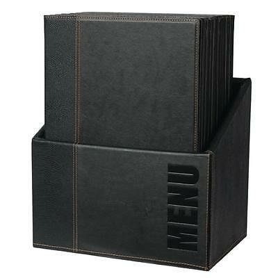Securit Contemporary Menu Holder Set - A4 With Stand Box Synthetic Leather x 20