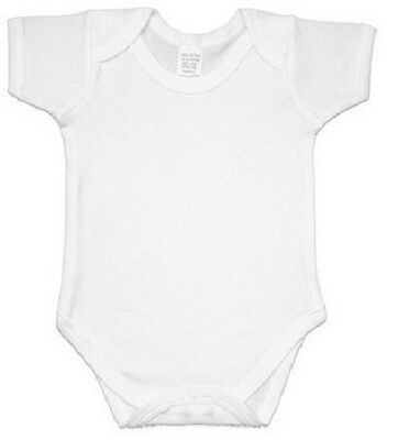 New UK Plain Various Colours Combed Cotton Short Sleeve Baby Body Suits