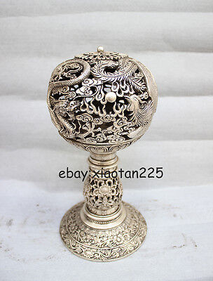 Chinese White Copper Silver Dragon phoenix high Censer W3606
