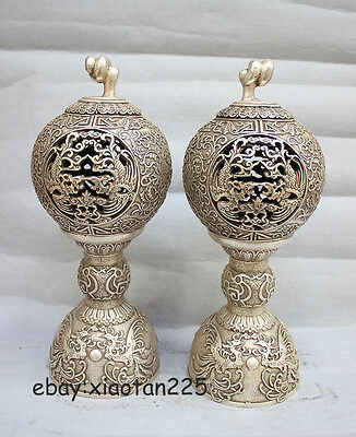 Chinese White Copper Silver propitious Phoenix flower incense burner Censer pair