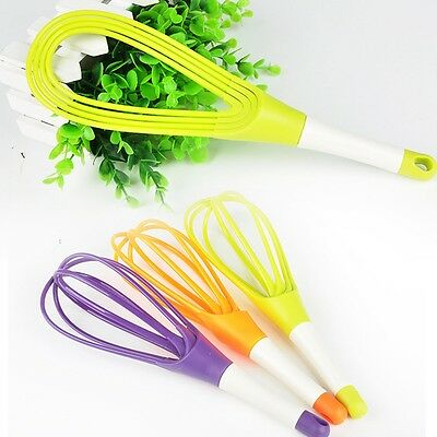 Silicone Whisk Non-stick Egg Beater Cake Cream Rotating Cookware Removable 2in1