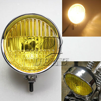 "5.7"" Retro Chrome Yellow Len 55W H4 Headlight For Harley Chopper Bobber Cruisers"