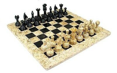 "Beautiful Handcrafted Marble/Onyx Chess Board Set. Size 16"" x 16"". New with box"