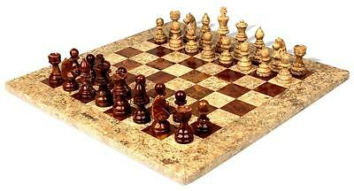 """Beautiful Handcrafted Marble/Onyx Chess Board Set. Size 12"""" x 12"""". New with box"""