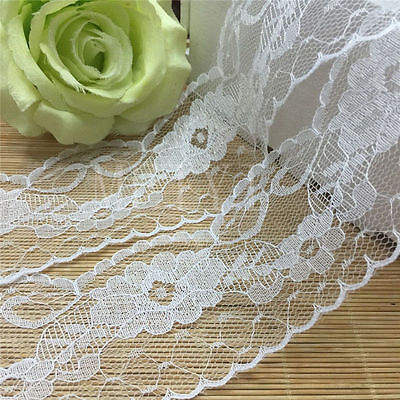 3 yd Vintage Embroidered Lace Edge Trim Ribbon Applique DIY Crochet Sewing Craft