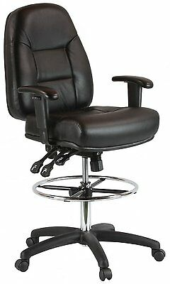 Harwick 100KL Heavy Duty Premium Leather Drafting Chair With Arms In Black New