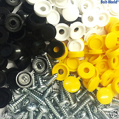 500 x NUMBER PLATE CAR FIXING FITTING KIT HINGE CAPS SCREWS YELLOW WHITE BLACK