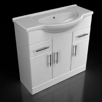 Contemporary White Synergy Blanco Vanity Unit with Basin Ceramic 850mm
