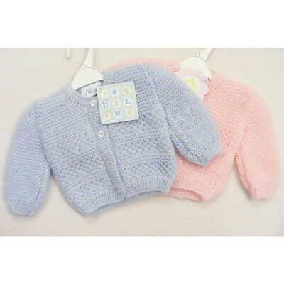 Baby Boys Baby Girls Hand Knit Soft Fluffy Cardigan Pink / Blue Made In Portugal