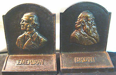 Unmarked Vtg Bradley & Hubbard B&h Cast Iron Bookends Authors Bryant & Emerson