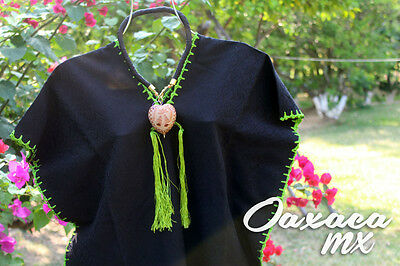 076 Womens Mexican Dress Oaxaca Black with Green Hand Embroidery Boho Hippie