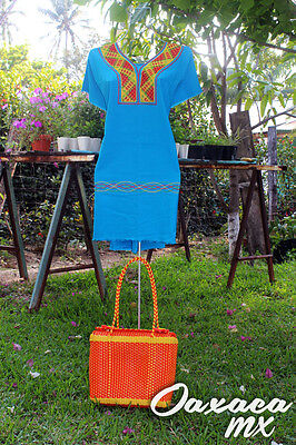 038 Womens Mexican Huipil Embroidered Dress Oaxaca Green Blue Yellow Boho Hippie