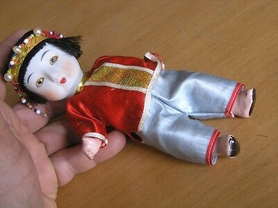 Vintage Oriental Chinese Bisque Head Composition Body Hands Legs Doll Sleepy 6""