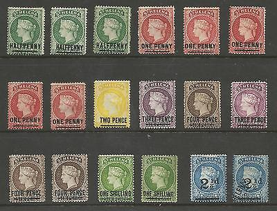 St Helena Victorian 1884-90 Surcharges Selection Of 18 Cat £300+