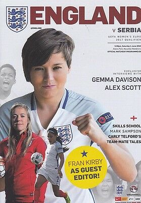 * ENGLAND v SERBIA WOMEN (EURO QUALIFIER) (4th June 2016) MINT PROGRAMME *